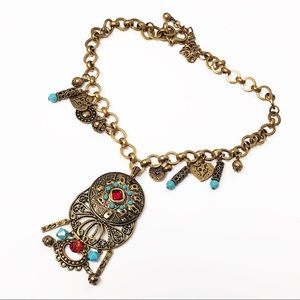 Chico's • Bohemian Turquoise Medallion Necklace